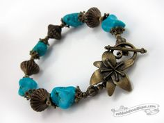 Turquoise Nugget bracelet gemstone jewelry by OohlalaBeadtique $20.00  #gift #love #girl #fashion #style #cute #beautiful