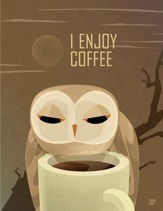 'Owl Enjoys Coffee' by Rogan Josh