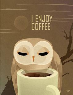 'Owl Enjoys Coffee' by Rogan Josh