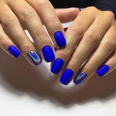 Short Matte Cobalt Blue w Holographic Accent Nail