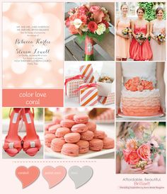 Color Love: Coral Coral and Grey wedding inspiration