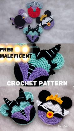 Maleficent Mouse Free crochet pattern : This awesome villain ornaments will look great on your Christmas Tree! Ornaments are the perfect, handmade addition for you to work up and add to your Christmas decorations. Children will love them from year to year Crochet Gifts, Cute Crochet, Crochet Dolls, Knit Crochet, Crochet Angels, Crochet Beanie, Crotchet, Disney Crochet Patterns, Knitting Patterns