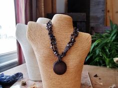 Vintage Wood Necklace Jewelry Beads Dark Brown Chocolate Colors Boho Jewel Beads Fall Autumn Tones Bohemian Women Woman Rustic Girl Teen