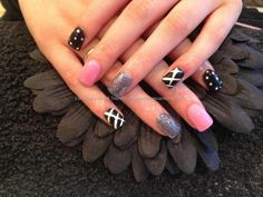 Acrylic nails with baby pink gelish gel polish grey gelux gel polish ,black and white nail art nail art