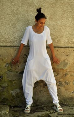 White Harem jersey Jumpsuit/Women casual by Gabygaclothes on Etsy