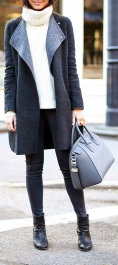 Winter Layers - Grey wrap coat with Rag and Bone booties, jcrew cashmere turtleneck / With Love From Kat
