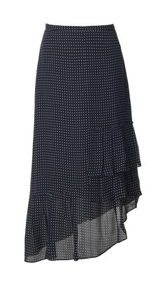 Tibi - Estrella Printed Silk Ruffle Skirt