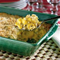 Thanksgiving Dinner Side Dishes: Two-Cheese Squash Casserole Recipes < 60 Spectacular Thanksgiving Side Dish Recipes - Southern Living Side Dishes For Ham, Best Side Dishes, Dinner Side Dishes, Thanksgiving Side Dishes, Vegetable Dishes, Thanksgiving Recipes, Vegetable Recipes, Holiday Recipes, Holiday Foods