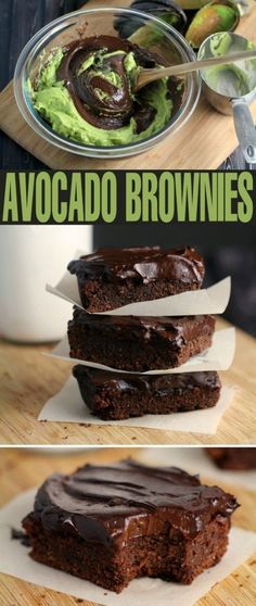 These Fudgy Avocado Brownies with Avocado Frosting are an incredible gluten-free healthier brownie f Agradable Estos brownies de aguacate fudgy … Paleo Dessert, Avocado Dessert, Healthy Desserts, Dessert Recipes, Healthy Recipes, Dinner Recipes, Vegetarian Recipes, Appetizer Dessert, Protein Recipes