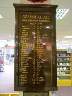 Dearne UDC Roll of Honour in Goldthorpe Library
