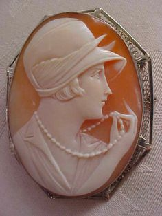 Art Deco Flapper Portrait Shell Cameo Brooch