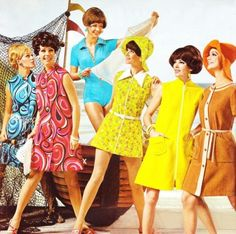 1960s dresses fashion, colorful styles