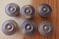 "set of 6 matching vintage antique brass 1 1/8"" knobs $18"