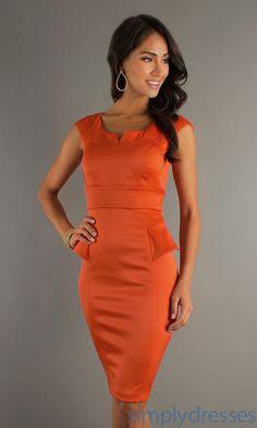 Orange Knee Length Career Dress XO-6142PDS5