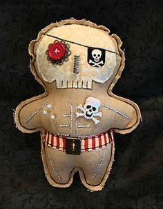 Handmade Primitive Voodoo Doll PIRATE Pincushion #NaivePrimitive