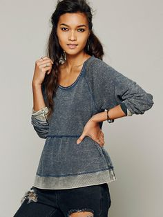 Free People Washed Peplum Pullover, $88.00