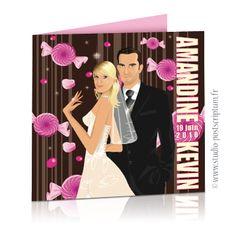 Faire-part de mariage gourmandise bonbon candy bar - sweet wedding invitation card save the date © www.studio-postscriptum.fr