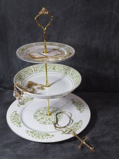 Vintage China Cake Stand White u0026 Gold China Stand Shabby Plate Stand 3 Tier Plate Stand Triple Plate Stand Victorian China Stand 166 by Dancinu2026 : china plate stand - pezcame.com