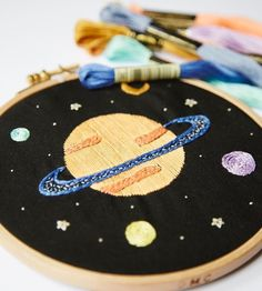 Planets embroidery