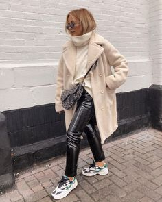 The Fashion Edit – 12 of the Weekly Best – Me Through Ur Eyes cream coat, pvc trousers and dad trainers Leather Trousers Outfit, Pvc Trousers, Patent Leather Pants, Trouser Outfits, Cream Trousers Outfit, Harem Pants, Trendy Outfits, Winter Outfits, Fashion Outfits