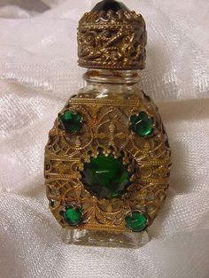Czechoslovakia Jeweled Mini Perfume Bottle Gilt Caged Czech Perfume ...