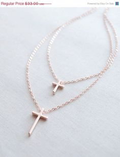 ON SALE Two Cross Rose Gold Necklace - double strand cross necklace - 1192