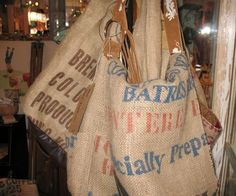 burlap purses in all different designs can be found at Buttercup Boutique