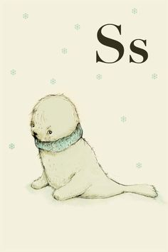 S for seal  Alphabet animal  Print 6x8 inches by holli on Etsy, $10.00