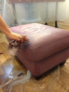 Leather Ottoman painted in Emile Chalk Paint® with a custom purple tinted wax.