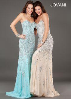 Jovani 7441 - Silver Nude and Aqua Beaded Strapless Prom Dresses - ThePromDresses.com