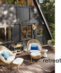 How to make a cozy cottage live larger? Make the most of outdoor space, which here practically doubles the square footage. On the smaller back deck, two super-comfy Paradise Chairs & Ottomans, along with a handy bar cart and side table, offer everything you need for an outdoor oasis.