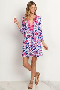 Pink Floral 3/4 Sleeve Dress