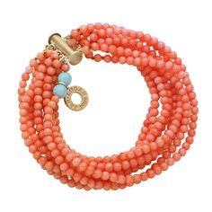 Jan Logan coral St Lucia bracelet - there is something 50's about coral and turquoise together.