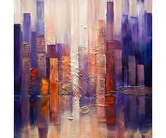 "Modern 36"" x 36"" ORIGINAL City Downtown Acrylic Painting Signed Modern Palette Knife Acrylic Abstract by Osnat Tzadok"