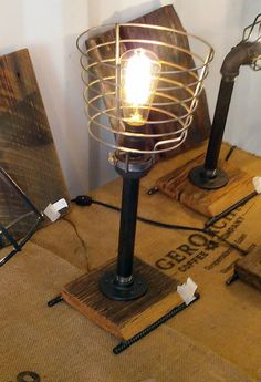 Pipe lamp with vertical design and metal shade