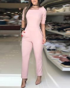 Puffed Sleeve Knotted Cutout Back Jumpsuits jumpsuit jumpsuit jumpsuit jumpsuit jumpsuit jumpsuit - June 29 2019 at Business Casual Outfits, Trendy Outfits, Fashion Outfits, Trend Fashion, Fashion Top, Style Fashion, Black Women Fashion, Womens Fashion, Jumpsuits For Women