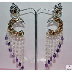 Pearl, Red Garnet & Amethyst Gemstone Studded 92.5% Sterling Silver Earrings