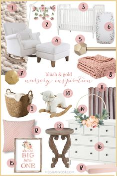 Baby girl on the way? Here's everything you need to create a blush and gold nursery in Baby girl on the way? Here's everything you need to create a blush and gold nursery in Baby Bedroom, Baby Room Decor, Ikea Baby Room, Baby Crib Bedding Sets, Baby Room Art, Gold Kindergarten, Blush Nursery, Gold Baby Nursery, Baby Girl Nursery Decor