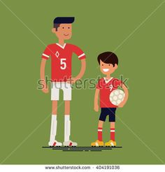 Cool vector characters on adult professional soccer football player and little boy kid fan. Sport career in family. Father and son ready to play soccer. Flat design illustration