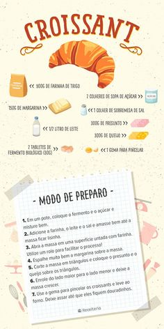 Receita de croissant de presunto e queijo - Receiteria - Receita de croissant de presunto e queijo – Receiteria Source by vemqueteconto Easy Cooking, Cooking Time, Cooking Recipes, I Love Food, Good Food, Yummy Food, Learn To Cook, Diy Food, Sweet Recipes