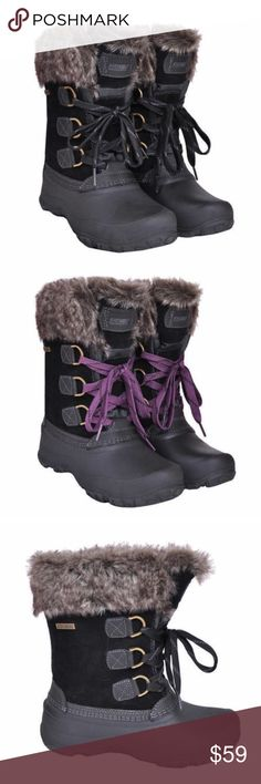 Khombu Snow Boots Faux Fur Brand new with original retail tags and box. These boots are ridiculously warm and comfy. They are weather rated -20 degrees and they are the official supplier to US Ski Team. They have a faux fur lining, leather upper and rubber sole. They have two laces: black and purple. The most common review of these are that they run small and to order a size up. Ship same day if ordered by 10:00 CST. Bundle 3 items and save 15% Khombu Shoes Winter & Rain Boots