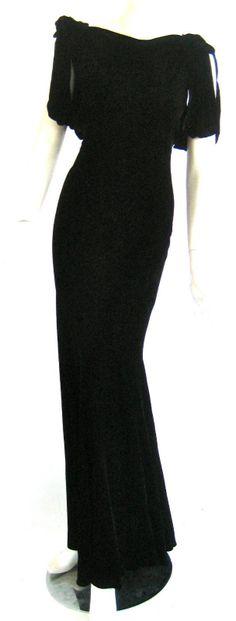 Vtg 1930s Art Deco Bias Cut Black Silk Velvet Evening Goddess Gown
