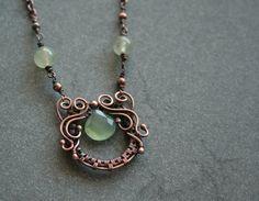 Secession green calcedony and prehnite beads by bodzastudio