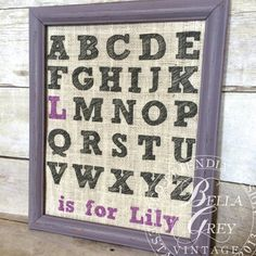 Alphabet ABC Is For  Burlap Print  Nursery by BellaGreyVintage, $25.00