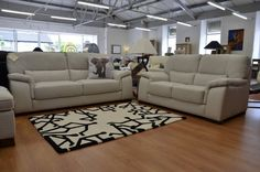 Leather Sofas & Suites : Mirto 2 and 3 Seater Sofas in Stone Leather