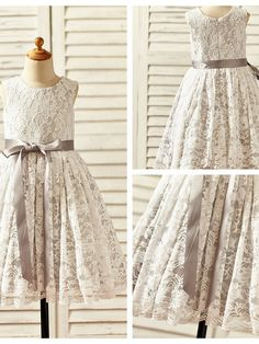 A-line Tea-length Flower Girl Dress - Lace / Satin Sleeveless - USD $ 49.99