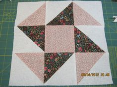 """12"""" Square Cotton Fabric Quilt Block Panel - Rosy Perpetual Motion 