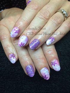 So pretty! #nails by Amanda Trivett @nailsashburton using #cndshellac with pigments & #lecente #glitter #lovelecente