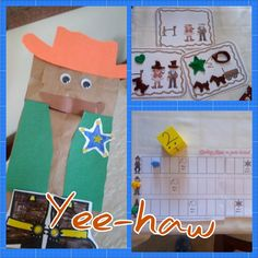 Cowboy / Wild West Craft & Activities - Would be super cute with a picture of the kids head on the bag, PRE-K & K UNIT Rodeo Crafts, Cowboy Crafts, Western Crafts, Preschool Themes, Preschool Crafts, Preschool Activities, Crafts For Kids, Summer Camp Crafts, Camping Crafts