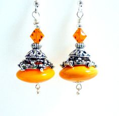 Yellow Orange Earrings, Glass Beaded Earrings, Handmade Lampwork Earrings, Silver, Fun Colorful Earrings, Sunrise